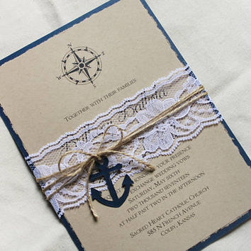 Nautical Wedding Invitation set, Old World wedding invitation set, rustic wedding invitations with navy and lace, anchor themed wedding card