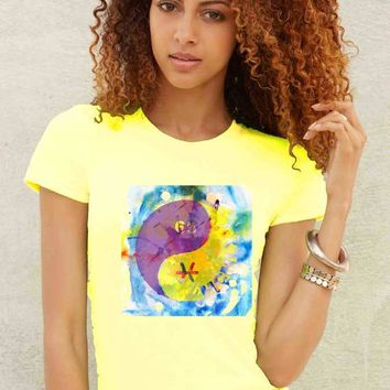 Women's Printed Tie-Dye Ying/Yang Graphic T-Shirt