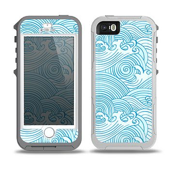 The Abstract Blue & White Waves Skin for the iPhone 5-5s OtterBox Preserver WaterProof Case