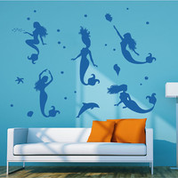 Ik75 Wall Decal Sticker Room Decor Art Mural Mermaid Dolphin bathroom fish sea stars ocean Child Bedroom