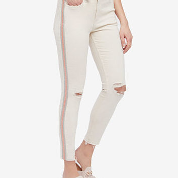 Free People Cotton Embellished Ripped Skinny Jeans | macys.com