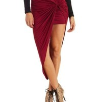 Dark Red Asymmetrical Knot Front Skirt by Charlotte Russe