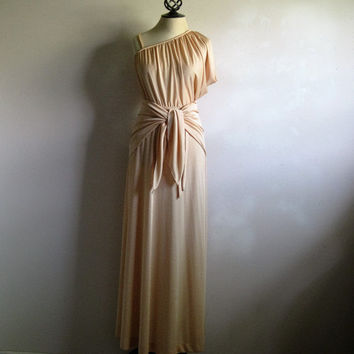 Grecian Column Dress Vintage 70s Light Gold Maxi Dress Fine Jersey Poly Knit Dress Small 5-6 w-Shawl