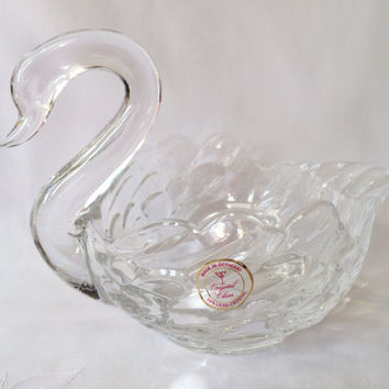 Cystal Swan Dish, 24% Lead Crystal, Made in Germany, Crystal Clear Co, Wedding gifts, Hollywood Regency, Swan Candy Dish, Sparkling Prism,