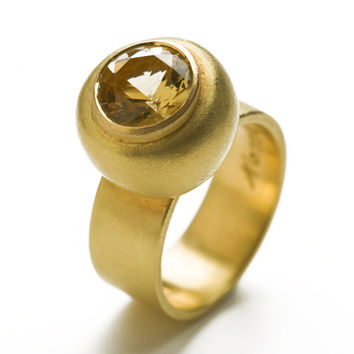 18k gold ring, Gold engagement ring, Citrine stone, wedding jewelry, Solitaire ring, 18k gold band, Solid gold ring, Gold statment ring