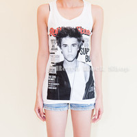 Justin Bieber Rolling Stone Cover Celebrity Tank Top Tunic White Sideboob (Size S to M)