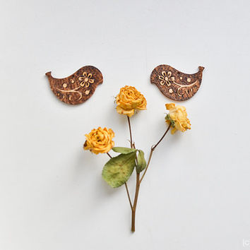 Wooden Floral Earrings - Woodburned Dangle Earings - Pyrography Bird Wood Jewelry