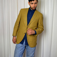 Men's Preppy Blazer, Single Breasted, Gold Sport Coat, Fall Sport Coat, Wool Blazer, Windowpane Check, Hipster Blazer, Collegiate Blazer