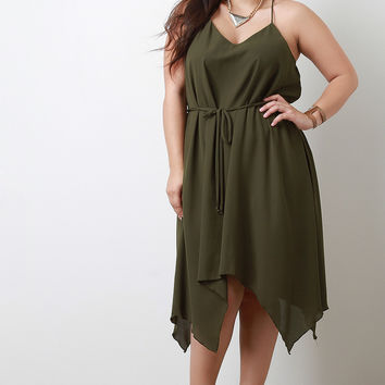 Casual Handkerchief Hem Belted Dress