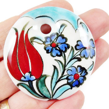 OOAK Large Hand painted Turkish Cini Ceramic Pendant - Red Tulip Blue Flower White No: 6 - 1pc
