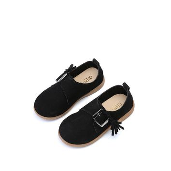 2017 Spring Autumn Children Leather Shoes Classic Vintage Tassel  Girls fashion Shoes Kids PU Leather sneaker soft footwear