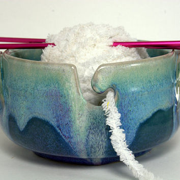 Happy face Pottery Yarn Bowl . Unique Handmade pottery Knitting Bowl.  Blue and green Glaze