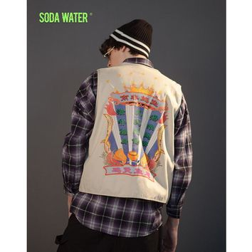 SODA WATER Sleeveless technical vest high street safari style Chinese printed Pockets Hip hop Tactical Vest Utility Vest 8955WS