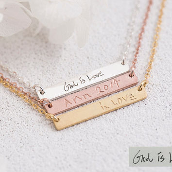 Handwriting Bar Necklace, Name Plate,Handwritten Signature,Drawing,Bridesmaid Gift, Gift for Her, Gold, Rose Gold, Silver,LUVINMARK,LVMKA9