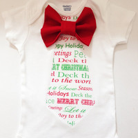 CHRISTMAS Bow Tie Onesuit Short Sleeve or Long by Babibowtique