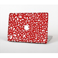 "The Bright Red and White Floral Sprout Skin Set for the Apple MacBook Pro 13"" with Retina Display"