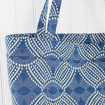Medium Blue Print Large Tote Bag, Farmers Market Bag, MK107