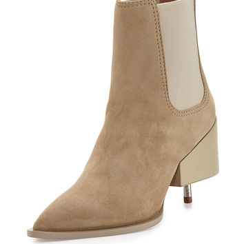 Suede Screw-Heel Chelsea Boot, Beige