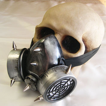 SILVER PEWTER-Distressed Look Steampunk Chemical Nuclear Fall Out Biological Warfare Respiratory Gas Mask with SPIKES-Burning Man Must Have