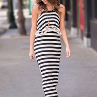 Heat of the Summer Striped Tasseled Maxi Dress