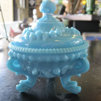 Vallerysthal Blue Milk Glass Candy Dish Shell and Dolphin Motif Early 1900's