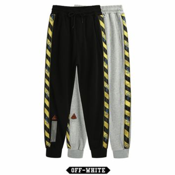 OFF WHITE 2018 new tide brand two sides webbing sports casual trousers