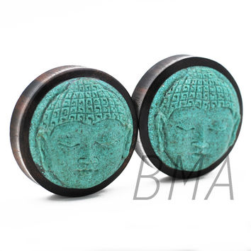 Turquoise Buddha in Areng Wood Plugs (14mm-50mm)