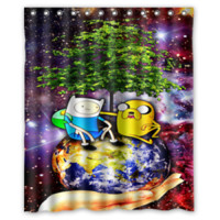 Adventure Time BMO Jake and Finn Nebula Shower Curtain Size 60x72 Inch