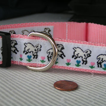 Easter Bunnies, Rabbits and Lambs on lovely soft Easter Colors, Large Dog Pet Collars , Adjustable and Washable