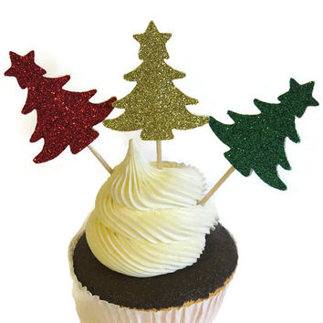 Christmas Tree Cupcake Toppers - Holiday Food Picks - 12 Pack #Christmas #party #cupcake #toppers