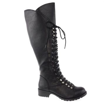 Water By Soda, Cracked Vintage Military Combat Boots Lace Up Women Shoe Size