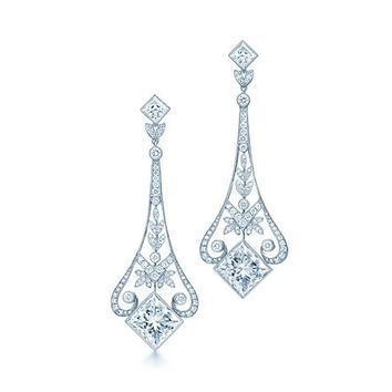 Tiffany & Co. -  Garland chandelier earrings of princess-cut and round diamonds in platinum.