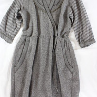 """~~~ OHHHH DARLING ~~~ NWT $395 OF TWO MINDS TAUPE """"FAUX WRAP"""" KNIT DRESS ~~~ S"""