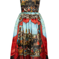 Blue and Red Cap Sleeve Theater Printed Midi Dress - Sheinside.com