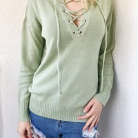 HANNAH LACE FRONT SWEATER- SAGE