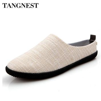 Tangnest NEW Hemp Men Casual Shoes Summer Style Slip-on Canvas Flats Men Non-Slip Slippers Breathable Loafers Man Shoes XMR2809