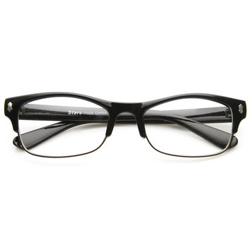 Mens GQ Fashion Eyewear Clear Lens Half Frame Glasses 8844