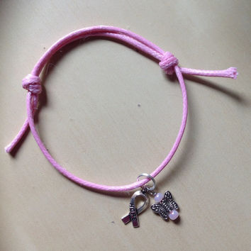 Pink Breast Cancer Awareness Sliding Knot Bracelet-Heart-Cleft Palate