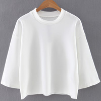White Round Neck Half Sleeve Ribbed Blouse