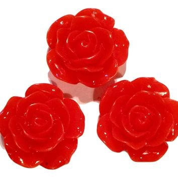 Red flower resin cabochon 15mm / 1-5 pieces