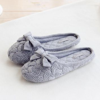 Knitted Bowtie Winter Women Home Slippers For Indoor Bedroom House Soft Bottom Cotton Warm Shoes Adult Guests Flats