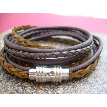 Mens Bracelet, Leather Bracelet, Brown Leather Bracelet, Mens Jewelry, Magnetic Clasp, Triple Wrap, Womens,  Bracelet, Jewelry