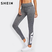 LOVE Print Marked Knit Leggings Workout Clothes For Women Autumn Grey Casual Fitness Women Active Wear Leggings