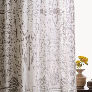 Sheer Cotton Distressed Medallion Curtains (Set Of 2) - Cloudburst