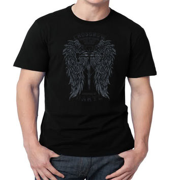 Crossbow Daryl Dixon Mens T-shirt Black and White