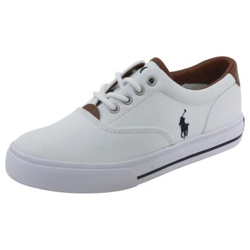 Polo Ralph Lauren Little/Big Boy's Vaughn II White/Navy Sneakers Shoes
