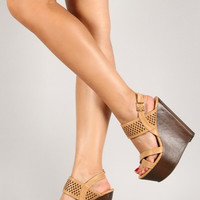 Basket Weave Wedge: Nude