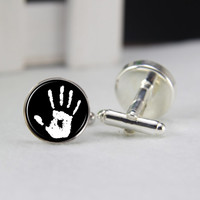 Child's handprints, cufflinks, silver or gold tone cufflinks, father's day gift, gifts for him, gift for dad, unique cufflinks