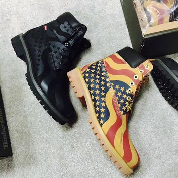 supreme x timberland 6 inch premium waterproof boot usa flag 00884497413624