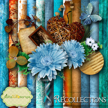 Recollections - Digital Scrapbook Kit - Printable Backgrounds - 12x12 inch Papers - FREE Quickpage Layout
